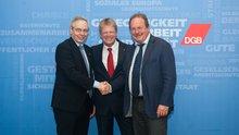 Michael Vassiliadis (IG BCE), Reiner Hoffmann (DGB) und Frank Bsirske (ver.di)