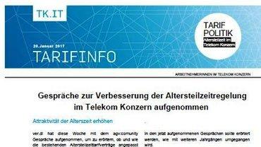 Tarifinfo 1 Altersteilzeit 2017 im T Konzern - Teaser
