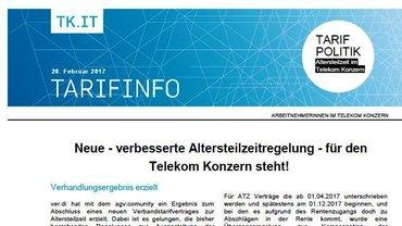 Tarifinfo 2 Altersteilzeit 2017 im Telekom-Konzern - Teaser