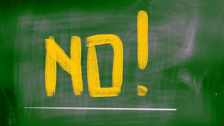 No Nein Ablehnung Tafel Schule