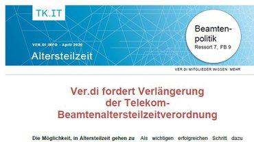 Flyer ver.di fordert Verlängerung der Telekom-Beamtenaltersteilzeitverordnung - April 2020 - Teaserformat