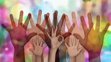 Freiwillig Hilfe Hände bunt gemeinsam stark Ehrenamt Team