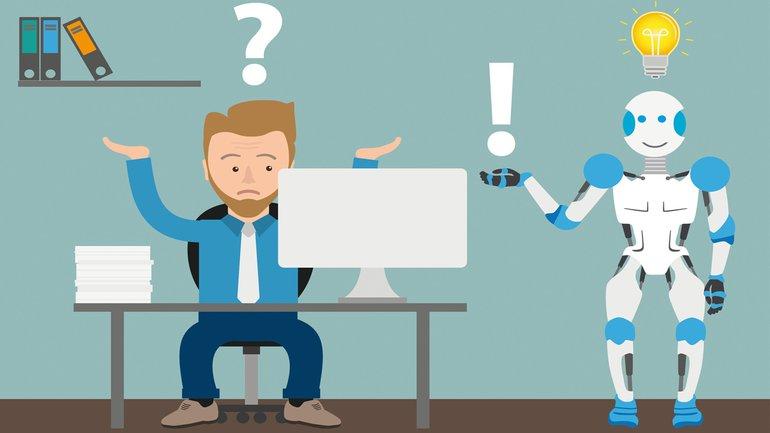 Künstliche Intelligenz KI Roboter Schreibtisch Arbeitsplatz Comic