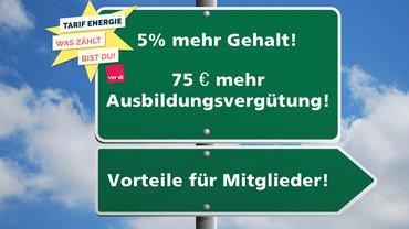 Hinweis Schild Forderung Tarif Energie Logo